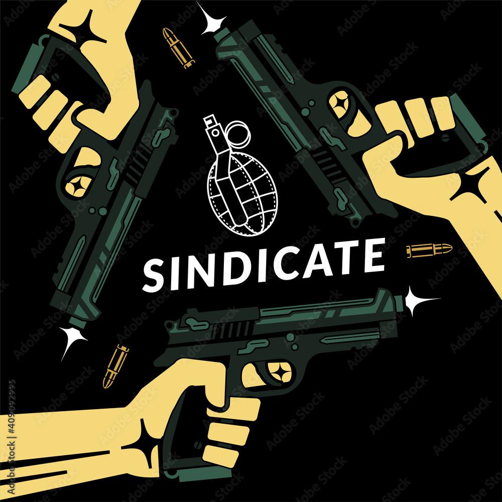 Fototapeta Triad mafia criminal sindicate, conceptual vector illustration