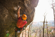 Male Lead Climber At Rumney New Hampshire In Autumn