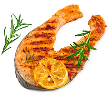Slice Of Grilled Fish, Salmon, Trout, Steak With Rosemary On Black Plate Isolated On White Background, Clipping Path