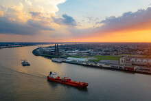 A Ship Is On The River Near New Orleans In The Evening From Above
