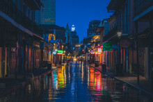 The Famous Bourbon Street In New Orleans Without People In The Morning