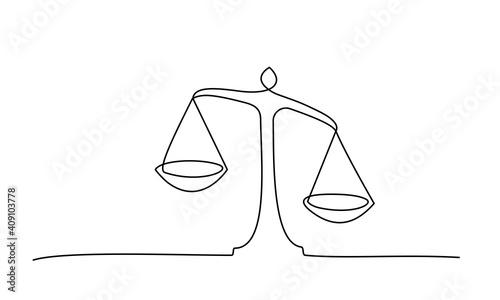 Fotografie, Obraz Judicial scales on white background