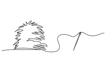 Concept Illustration Of Needle And Haystack. Continuous One Line Drawing.