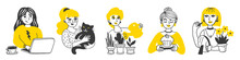 A Collection Of Five Hand-drawn Women Doing Housework. Vector Illustration In Yellow And Black Colors. The Girl At The Laptop, Stroking The Cat, Painting Lips, Watering Plants, Baking A Cupcake