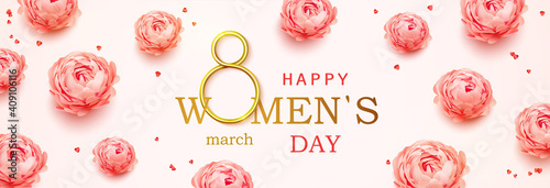 Fototapeta Happy Women's Day horizontal banner with calligraphy text and with pink peonies flowers background
