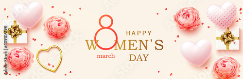 Obraz 8 March. Women's Day horizontal banner for the website. Postcard on March 8. Romantic background with realistic design elements, gift box, golden hearts, balloons in the shape of heart and flowers - fototapety do salonu