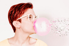 Woman With Big Pink Bubble Of Chewing Gum With Liquify Effect