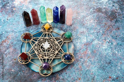 Meditation, reiki and crystal healing background Fotobehang
