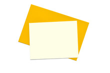 Blank Card On Yellow Envelope. Minimalist Composition On White Background. Top View, Empty Space For Text.
