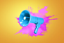 Creative Blue Megaphone With A Colored Pink Burst On An Orange Background. Creative Attention Colorful Idea And Audio Message Concept. Sales And Advertising