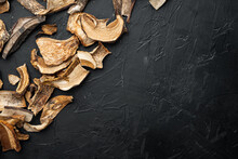 Dried Mushrooms, On Black Background, Top View Flat Lay , With Space For Text  Copyspace