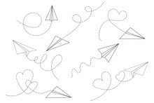 Set Of Paper Airplane With Heart . Flying Airplane With Dotted Air Route In Heart. Hearted Airplane Path, Flight Air Trace ,vector Illustration In EPS 10.