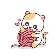 Cute Little Kitten Playing With Yarn Ball