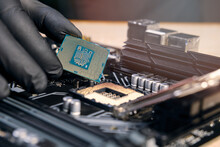 Engineer Repairman Holding Hands In Black Gloves Chip Processor CPU To Insert Into The Socket Of The Computer Or Laptop V4