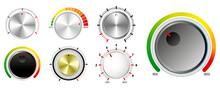 Set Of Plastic Volume Knob Or Realistic Metallic Control Knob Or Round Dial Regulator Knob Concept. Eps 10 Vector, Easy To Modify