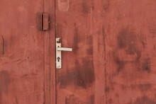 Old Grunge And Dirty Metal Closeup Of Steel Door With Door Handles And Lock Vintage Retro Style Background And Texture In Sofia, Bulgaria, Eastern Europe