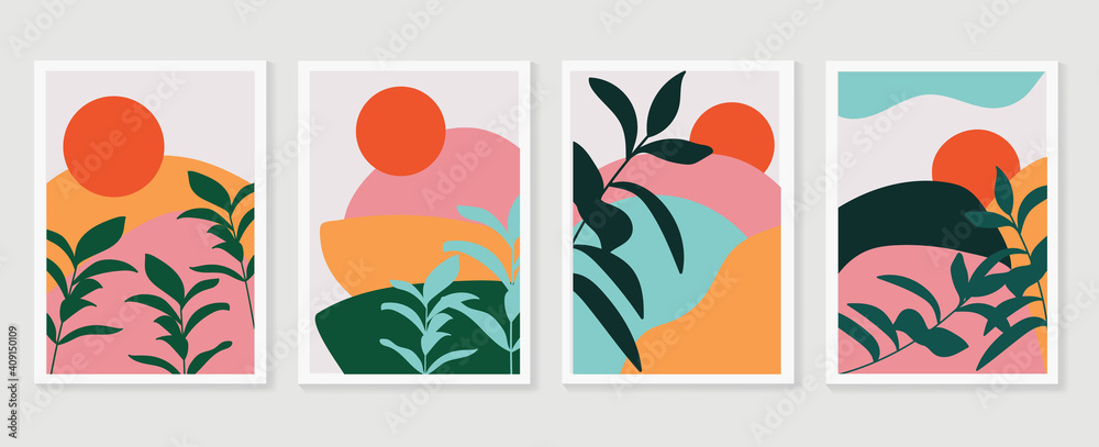 Fototapeta Botanical and landscape watercolor wall art vector set. Earth tone background foliage line art drawing with mountain and sun. Abstract Plant Art design for wallpaper, Canvas prints and Home decor.