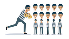 Set Of Flat Vector Character Illustration, A Man Is A Thief , Various Views, Cartoon Style.