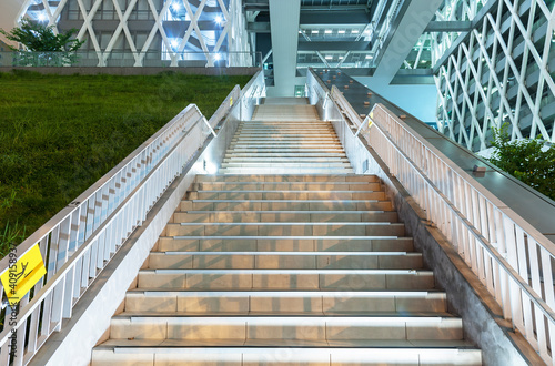 Fotografija Night scene of stairway of modern architecture