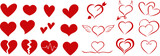 A set of hearts for Valentine's day. Holiday of all lovers. Valentine's Day 2021. February 14. Red icons. Flat design. Heart and love