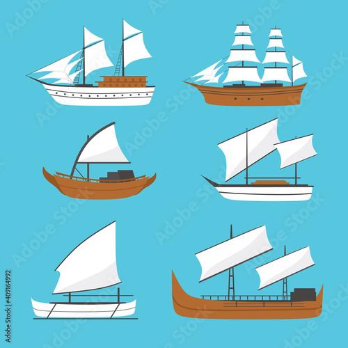 Fototapeta Vector flat sailing boat, ship icon, set