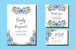 Wedding invitation frame set, Blue floral watercolor hand drawn Dahlia Flower design Invitation Card Template