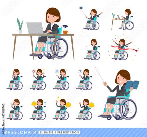 Cuadros en Lienzo flat type business women_wheelchair-business