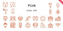 Pink Icon Set. Line Icon Style. Pink Related Icons Such As Cherry, Flowers, Castle, Piece Of Cake, Bouquet, Mirror Ball, Float, Popsicle, Flower, Cupid, Wedding Car, Ice Cream, Cocktail, Cake, Bib
