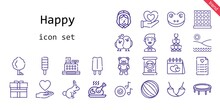 Happy Icon Set. Line Icon Style. Happy Related Icons Such As Gift, Love, Groom, Tree, Pilgrim, Heart, Popsicle, Wedding Planning, Ball, Romantic Music, Frog, Love Birds, Turkey, Beach, Rabbit, Cashier
