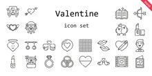 Valentine Icon Set. Line Icon Style. Valentine Related Icons Such As Love, Groom, Couple, Ring, Engagement Ring, Lipstick, Wedding Video, Kiss, Heart, Wedding Car, Cupid, Spellbook, Rings, Love Birds