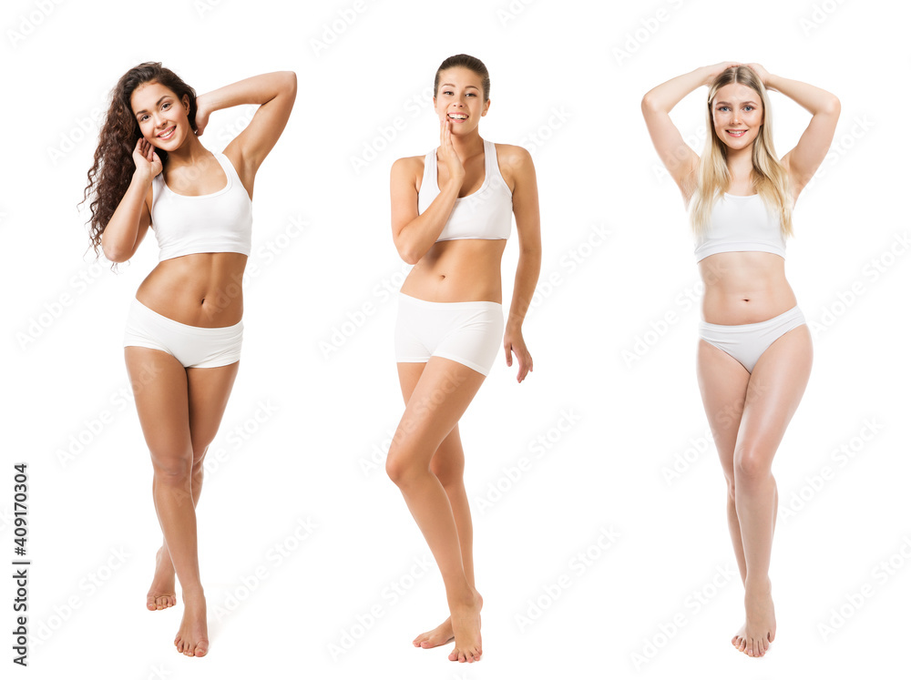 Fototapeta Group of Beauty Women different Body Size Weight Type Skin Color Tan. Diverse Ethnic. Body Positive. Isolated White