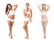 Group of Beauty Women different Body Size Weight Type Skin Color Tan. Diverse Ethnic. Body Positive. Isolated White