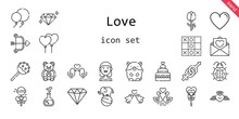 Love Icon Set. Line Icon Style. Love Related Icons Such As Bride, Gender, Balloons, Like, Hamster, Ladybug, Lollipop, Heart, Swans, Love Potion, Cake Pop, Cupid, Diamond, Wedding Cake, Love Birds