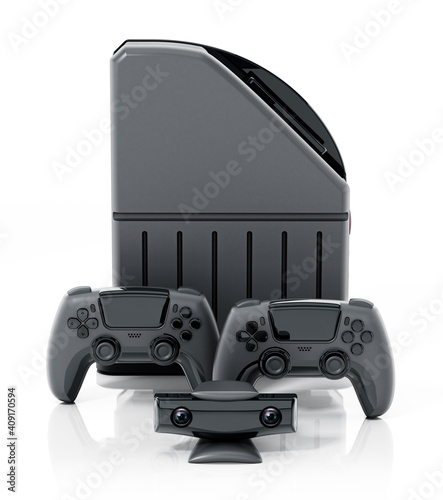 Generic video game console, controllers and camera isolated on white background. 3D illustration © Destina