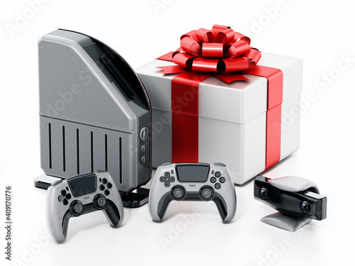 Giftbox standing next to generic video game console, controllers and camera. 3D illustration © Destina
