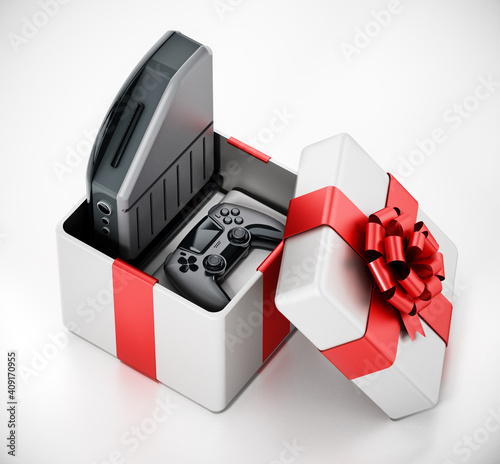 Generic video game console and controller inside giftbox. 3D illustration © Destina