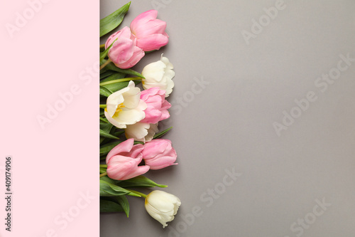 Obraz Beautiful tulips and space for text on gray background - fototapety do salonu