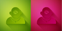 Paper Cut Cyclops Icon Isolated On Green And Pink Background. Paper Art Style. Vector.