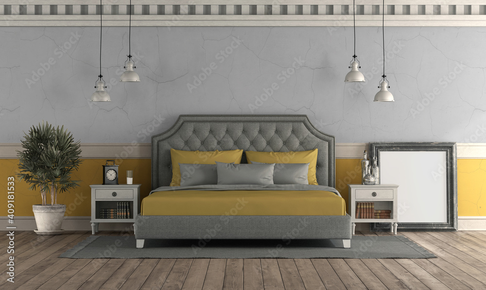 Fototapeta Gray and yellow master bedroom in retro style