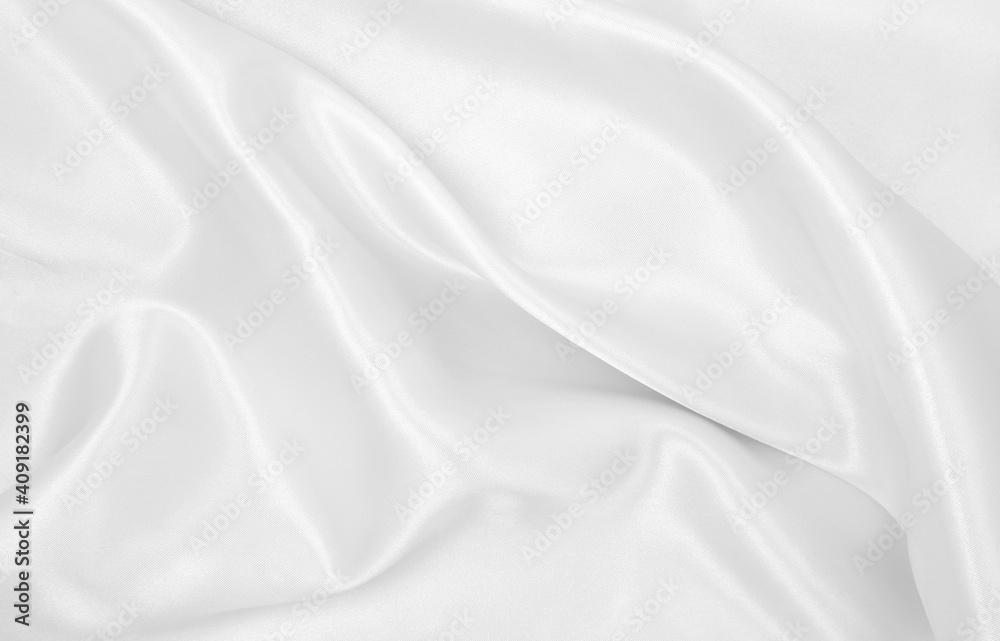 Fototapeta Smooth elegant white silk or satin luxury cloth texture as wedding background. Luxurious background design