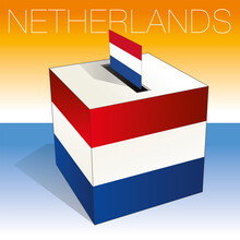 Dutch Ballot Box With Symbols Of Netherland And Flags, Vector Illustration
