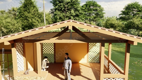 Fototapeta A young man and a woman are having a nice conversation in the gazebo of a countr