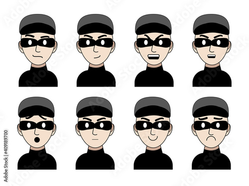 Fototapeta Emotions of a thief character drawn in a cartoon style