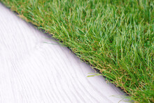 Artificial Grass Fragment Lying On The Floor
