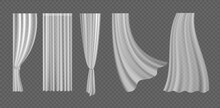 Curtain Set, 3d Realistic Fluttering Curtain Collection From White Fabric Silk Cloth