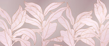 Luxury Rose Gold And Pink Floral Background Vector. Botanical Leaves Pattern. Golden Wallpaper Design With Tropical Plant Line Arts, Vector Illustration.
