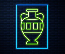 Glowing Neon Line Ancient Amphorae Icon Isolated On Brick Wall Background. Vector.
