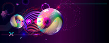 Synthwave Vaporwave Retrowave Glitch Circle With Blue And Pink Glows Futuristic Art Neon Abstraction Background Cosmos New Art 3d Starry Sky Glowing Galaxy And Planets Blue Circles