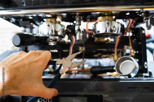 Canvas repair of the coffee machine photo. disassembled coffee machine