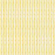 Seamless Pattern Of Yellow Thin Hand Drawn Stripes. Birthday Card Backdrop, Wrapping Paper Texture, Textile. Watercolor Isolated Elements On White Background.